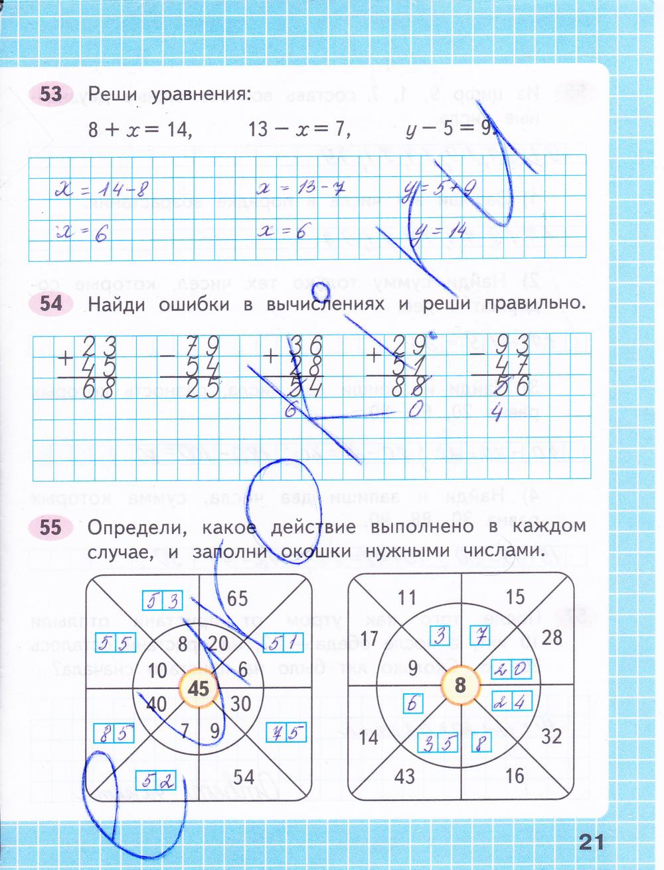 ГДЗ по математике 2 класс рабочая тетрадь Моро, Волкова Часть 1, 2. Задание: стр. 21
