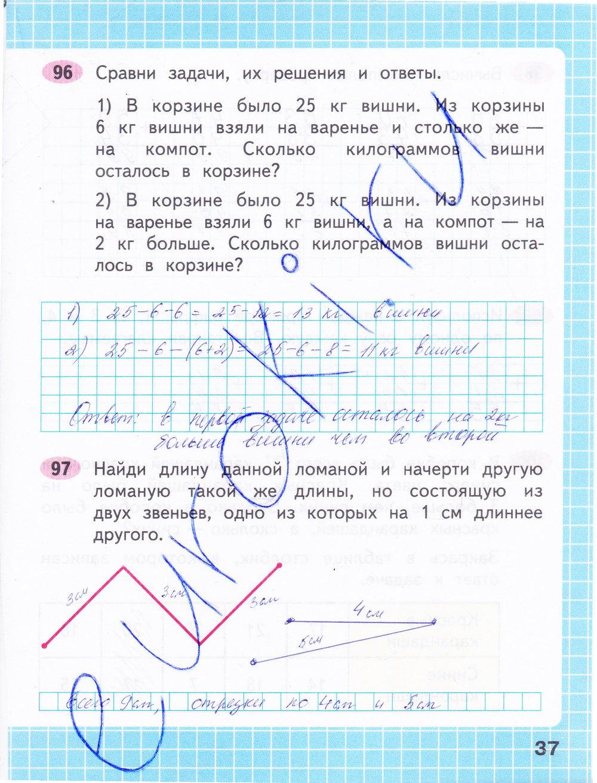 ГДЗ по математике 2 класс рабочая тетрадь Моро, Волкова Часть 1, 2. Задание: стр. 37