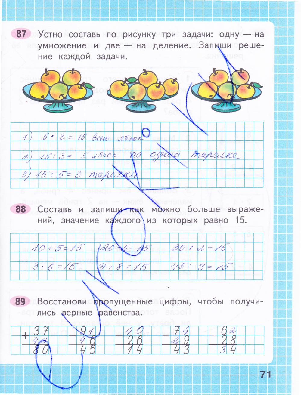 ГДЗ по математике 2 класс рабочая тетрадь Моро, Волкова Часть 1, 2. Задание: стр. 71