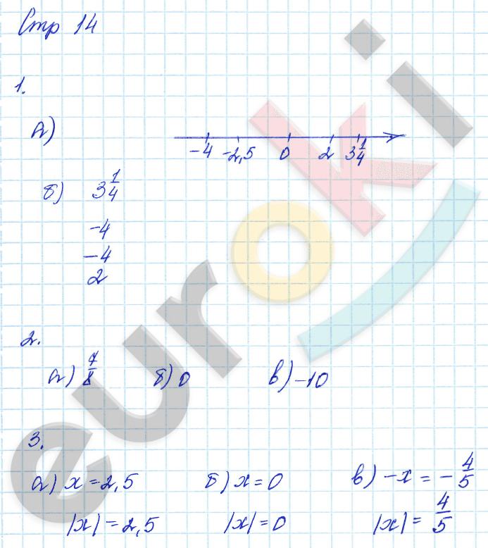 ГДЗ по математике 6 класс тетрадь для контрольных работ Зубарева, Лепешонкова Мнемозина Часть 1, 2 ответы и решения онлайн. Задание: стр. 14
