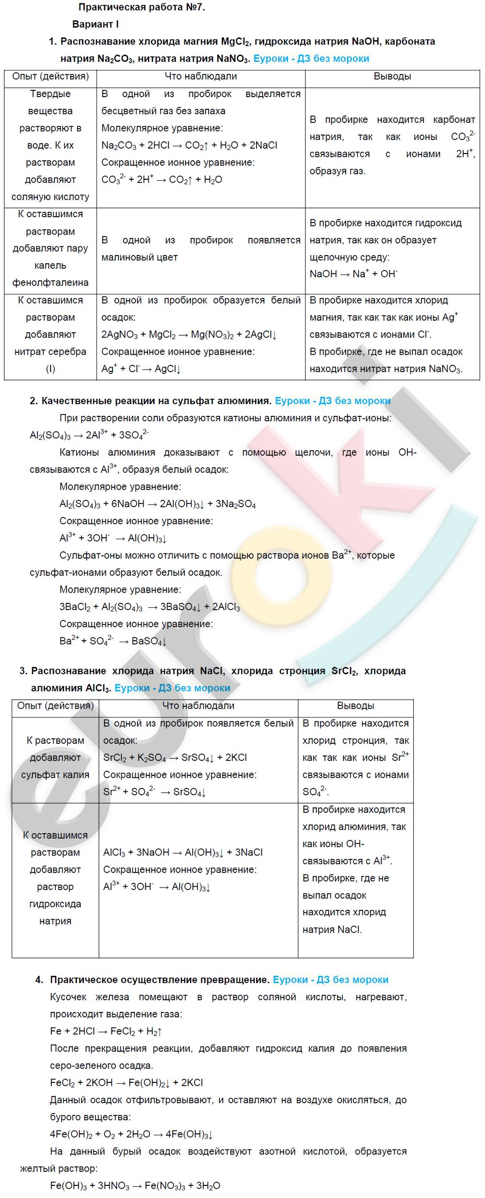 ГДЗ по химии 9 класс Рудзитис, Фельдман Новое издание. ФГОС, §50. Практическая работа №7. Задание: Вариант 1