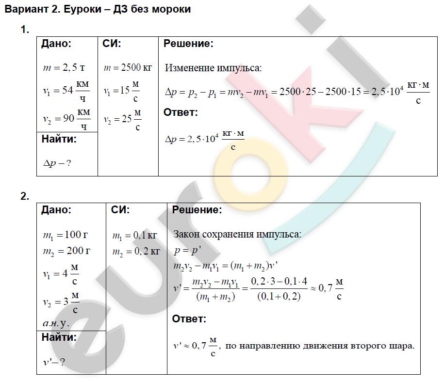 Решение задач физике 9 класс импульс тела тема решение задач на проценты