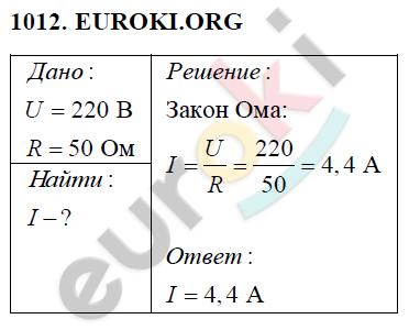 ГДЗ по физике 8 класс Перышкин (сборник задач). Задание: 1012