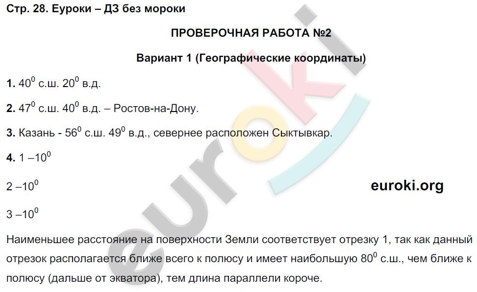 ГДЗ по географии 5 класс тетрадь экзаменатор Барабанов. Задание: стр. 28