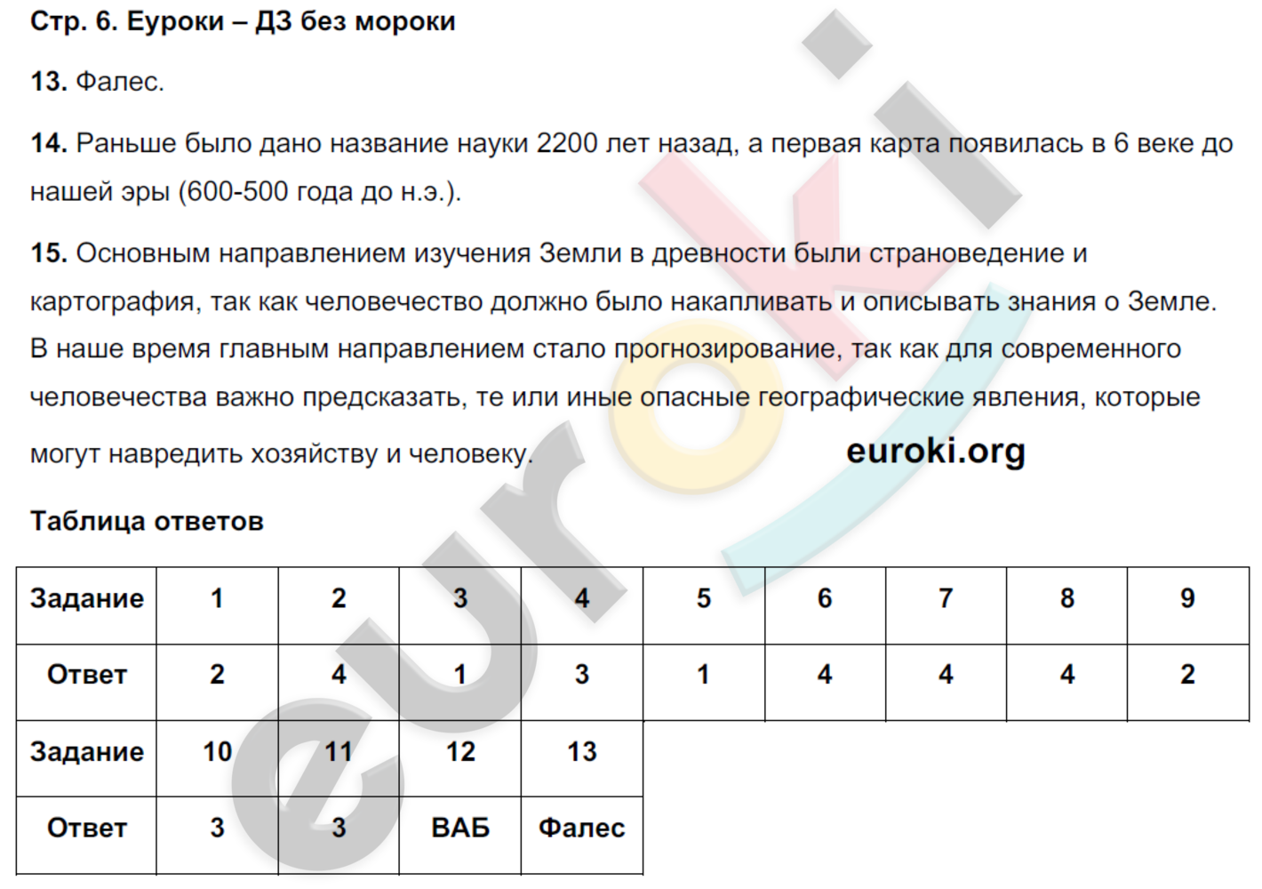 ГДЗ по географии 5 класс тетрадь экзаменатор Барабанов. Задание: стр. 6