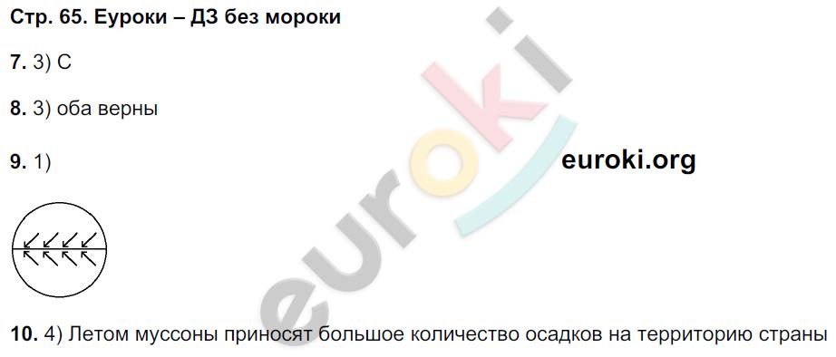 ГДЗ по географии 5 класс тетрадь экзаменатор Барабанов. Задание: стр. 65