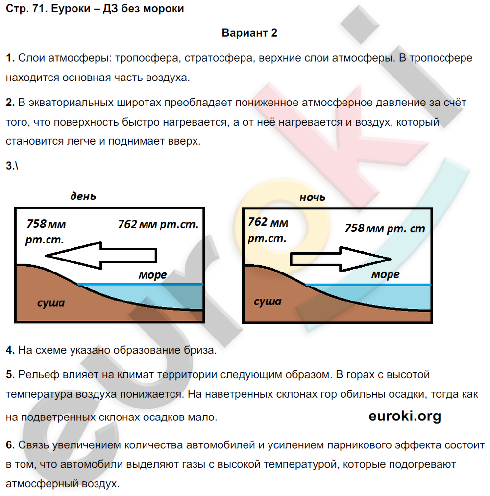 ГДЗ по географии 5 класс тетрадь экзаменатор Барабанов. Задание: стр. 71
