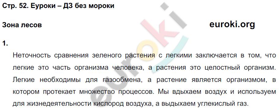 ГДЗ по окружающему миру 4 класс самостоятельные работы Чуракова, Трафимова. Задание: стр. 52