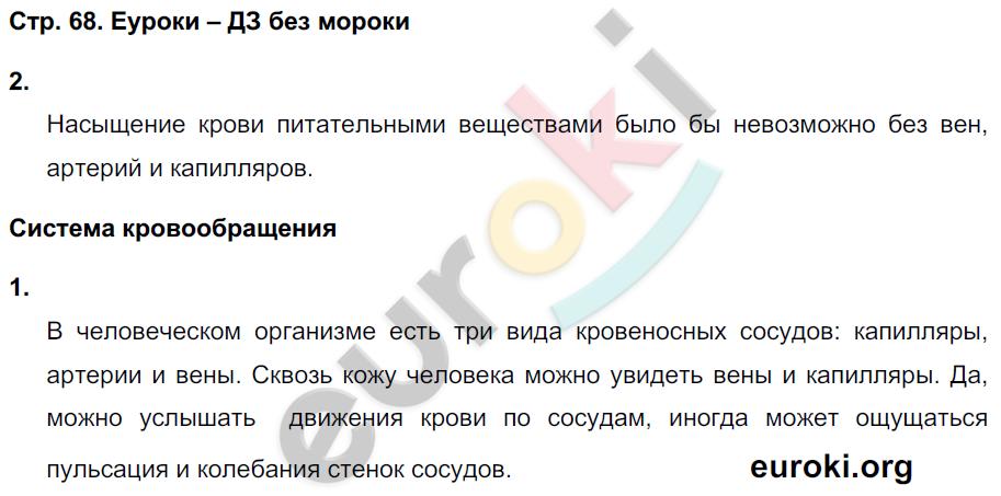 ГДЗ по окружающему миру 4 класс самостоятельные работы Чуракова, Трафимова. Задание: стр. 68