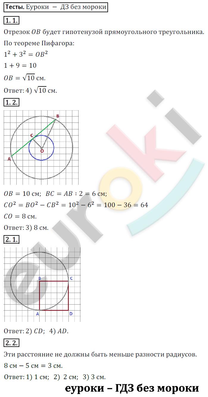 ГДЗ по математике 6 класс Козлов, Никитин Русское Слово ответы и решения онлайн Глава 7. Окружность. Вписанные и описанные многоугольники, §2. Касательная. Задание: Тесты